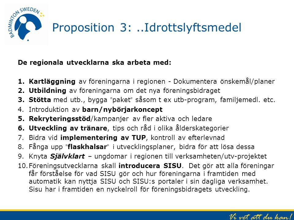 Proposition 3: ..Idrottslyftsmedel