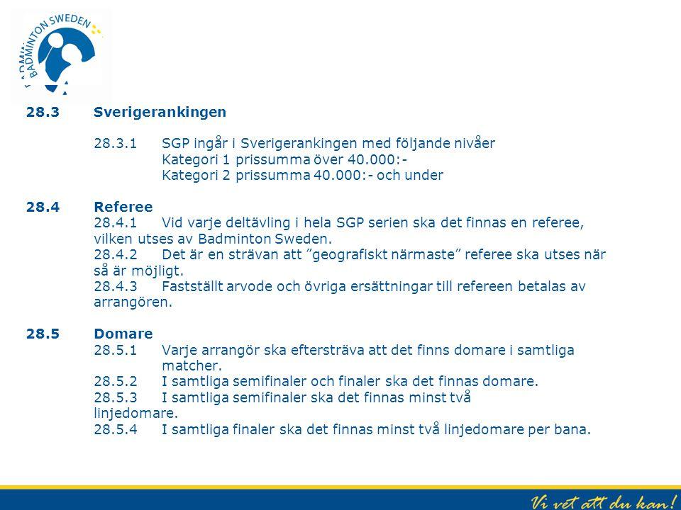28.3 Sverigerankingen 28.3.1 SGP ingår i Sverigerankingen med följande nivåer Kategori 1 prissumma över 40.000:- Kategori 2 prissumma 40.000:- och under 28.4 Referee 28.4.1 Vid varje deltävling i hela SGP serien ska det finnas en referee, vilken utses av Badminton Sweden.