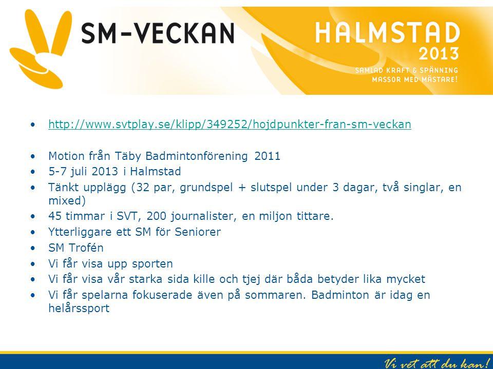 SM Veckan 2013 http://www.svtplay.se/klipp/349252/hojdpunkter-fran-sm-veckan. Motion från Täby Badmintonförening 2011.