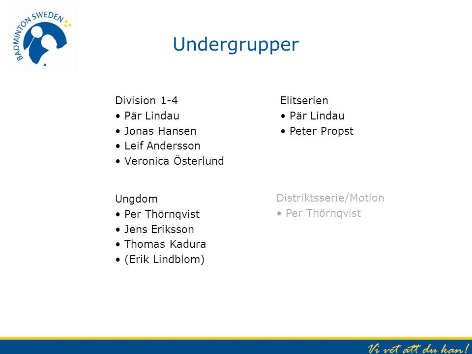 Undergrupper Division 1-4 Pär Lindau Jonas Hansen Leif Andersson