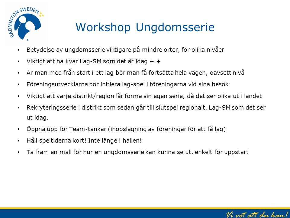 Workshop Ungdomsserie