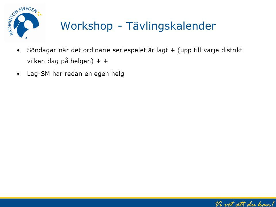 Workshop - Tävlingskalender
