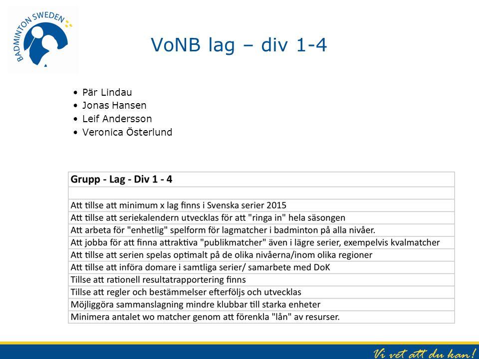 VoNB lag – div 1-4 Pär Lindau Jonas Hansen Leif Andersson