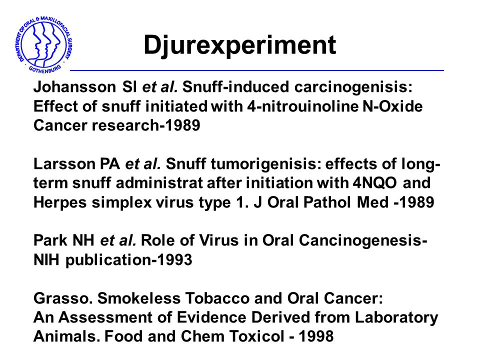 Djurexperiment Johansson Sl et al. Snuff-induced carcinogenisis: