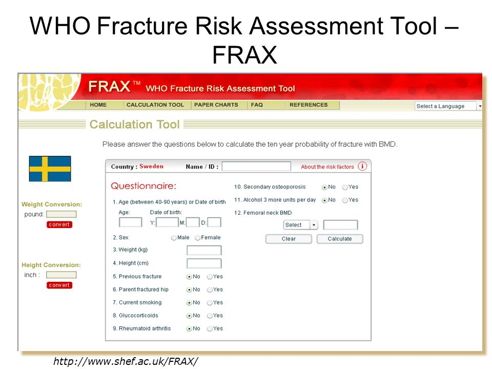 WHO Fracture Risk Assessment Tool – FRAX