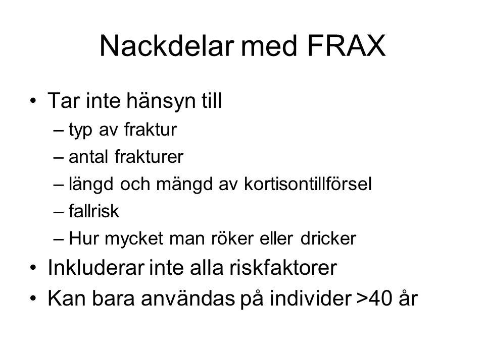 Nackdelar med FRAX Tar inte hänsyn till