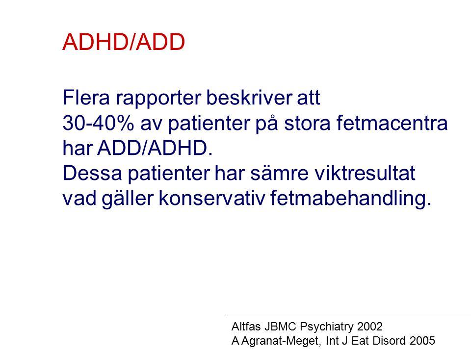 ADHD/ADD Flera rapporter beskriver att