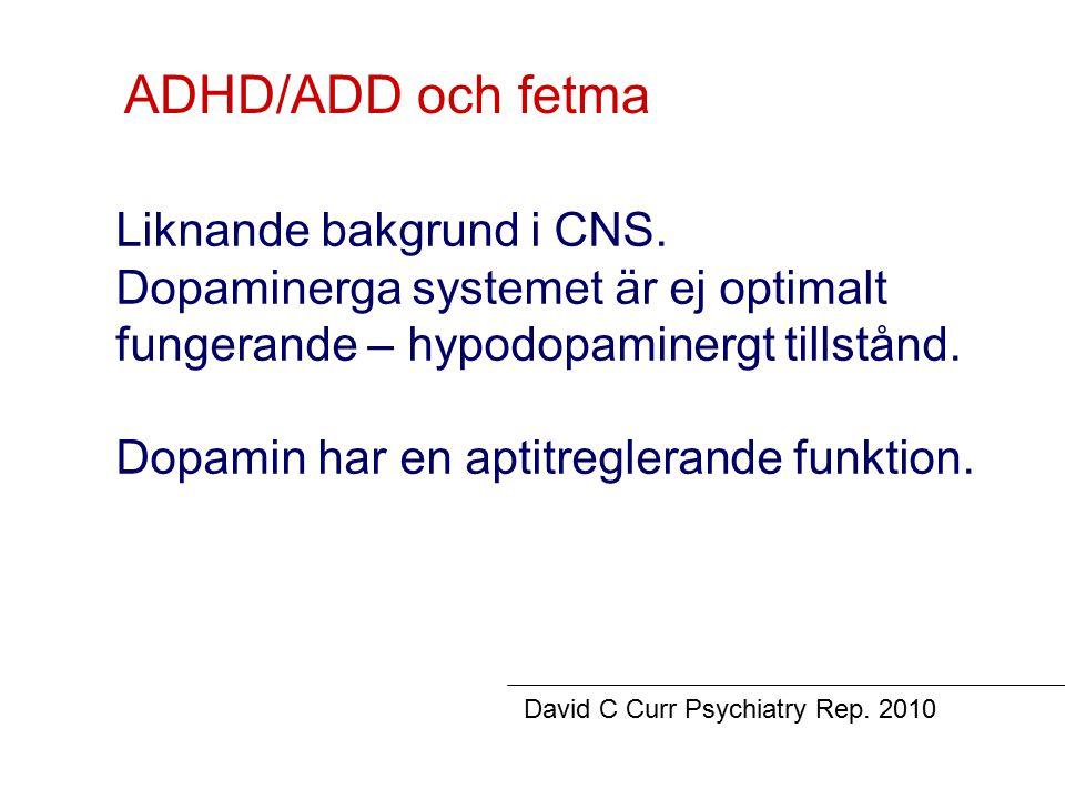 ADHD/ADD och fetma Liknande bakgrund i CNS.