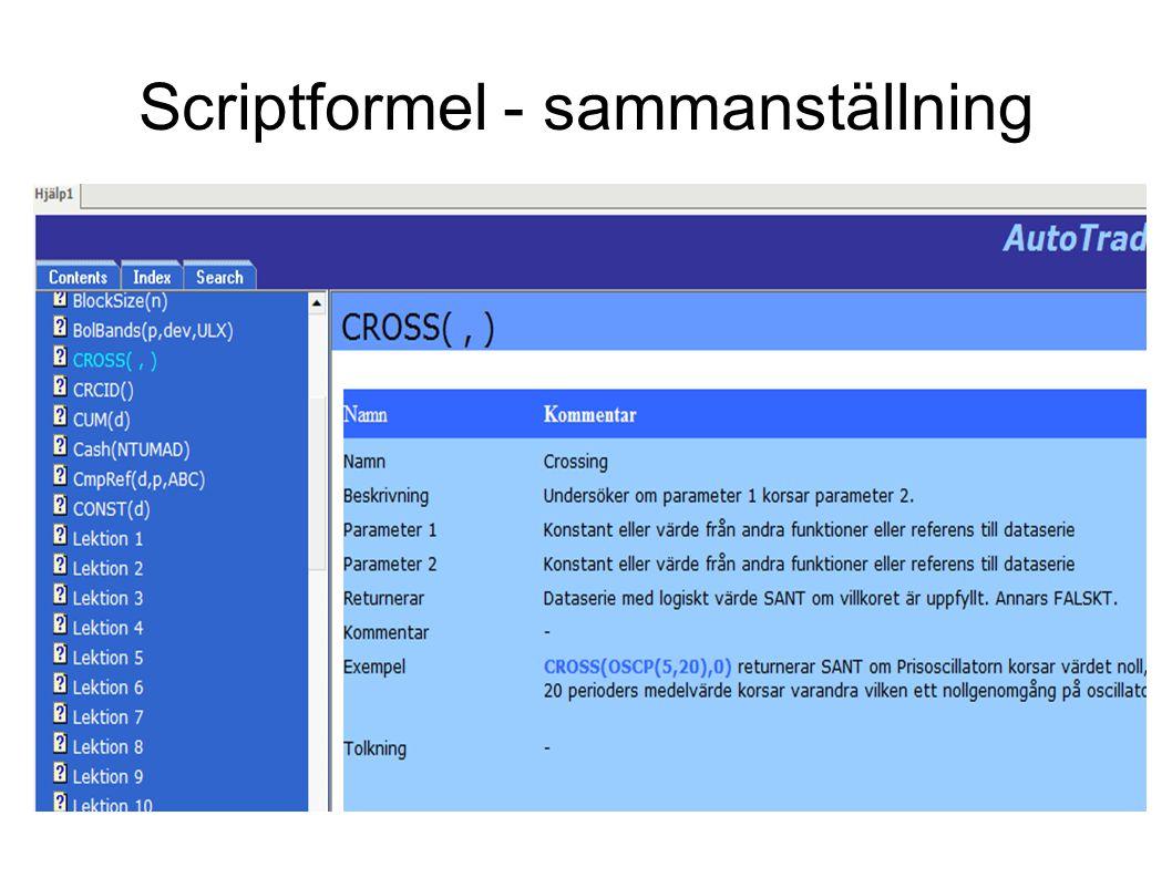 Scriptformel - sammanställning