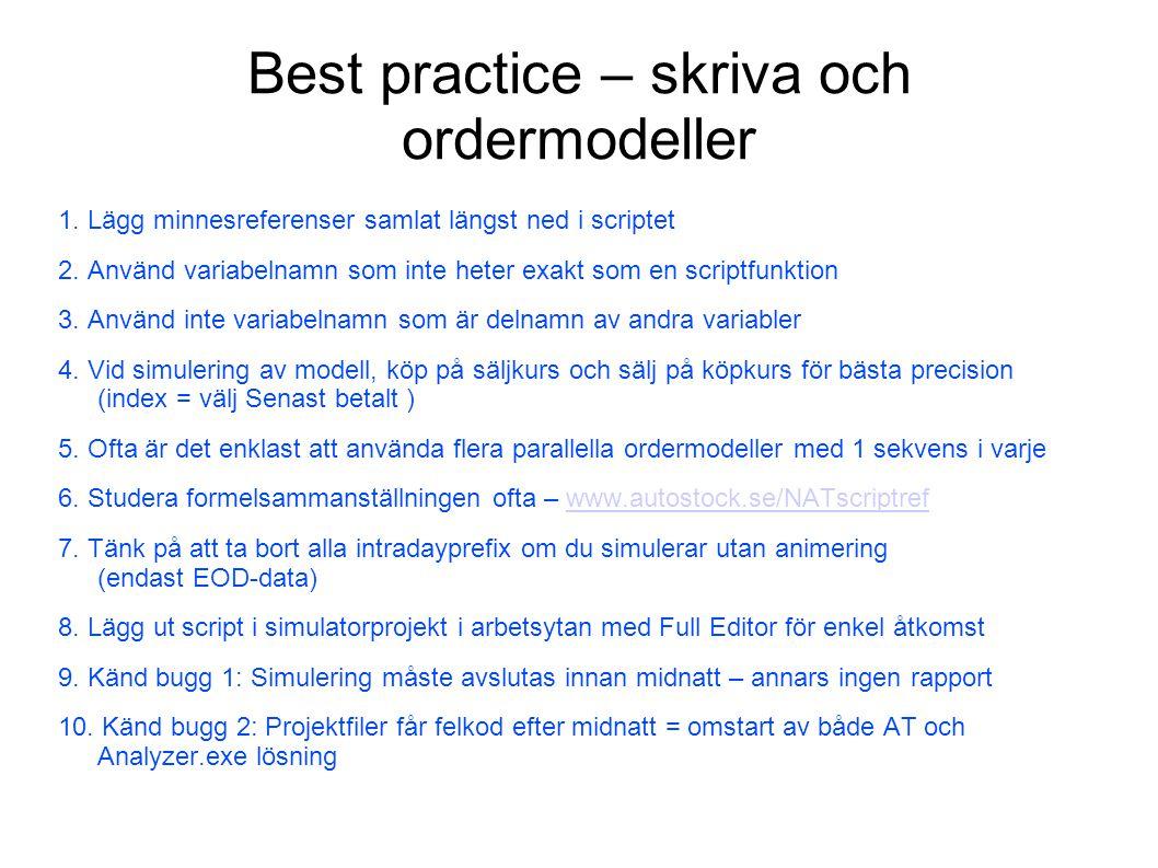 Best practice – skriva och ordermodeller