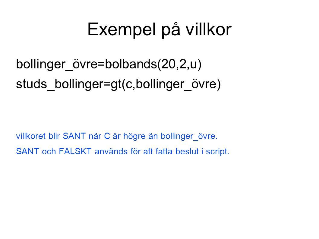 Exempel på villkor bollinger_övre=bolbands(20,2,u)