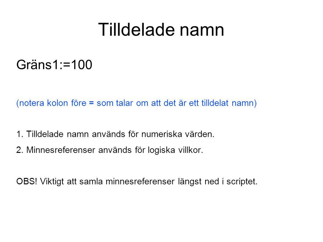 Tilldelade namn Gräns1:=100