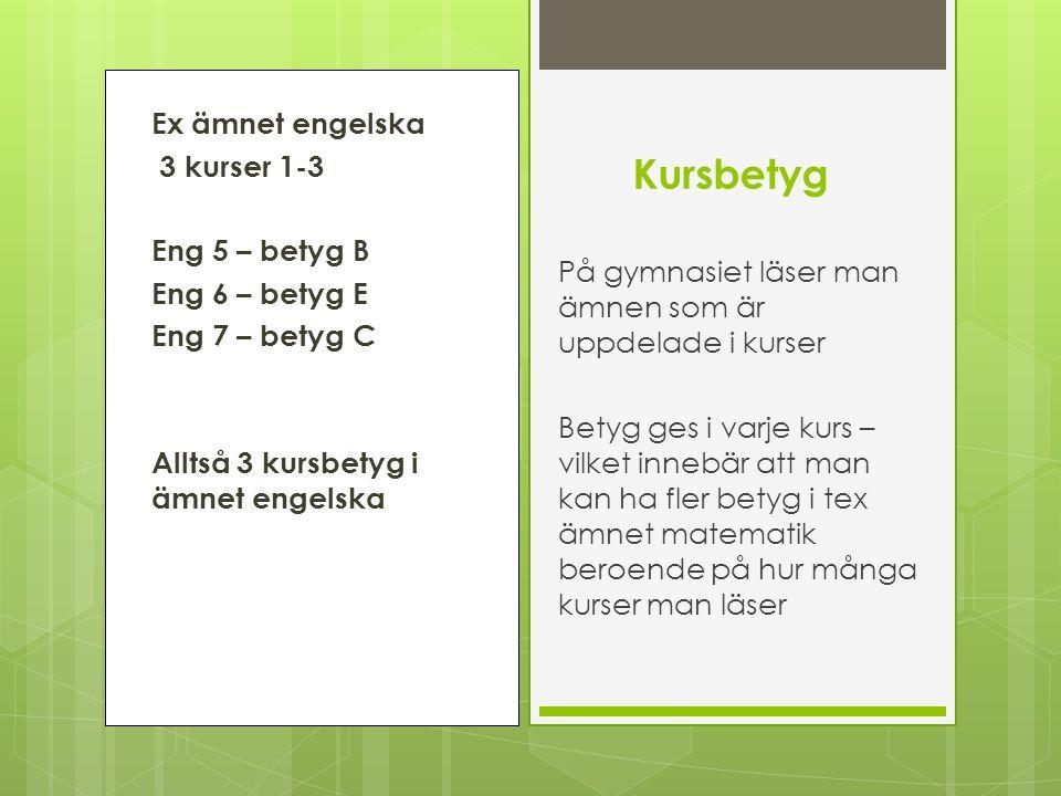Ex ämnet engelska 3 kurser 1-3 Eng 5 – betyg B Eng 6 – betyg E Eng 7 – betyg C Alltså 3 kursbetyg i ämnet engelska