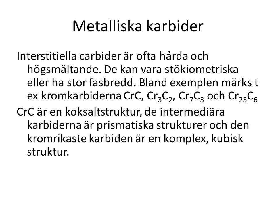 Metalliska karbider