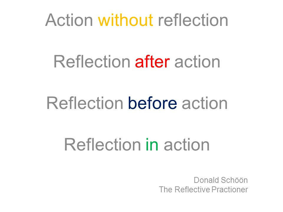 Action without reflection Reflection after action