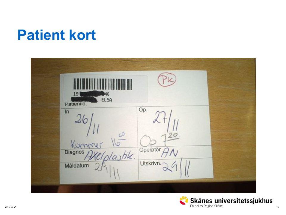 Patient kort