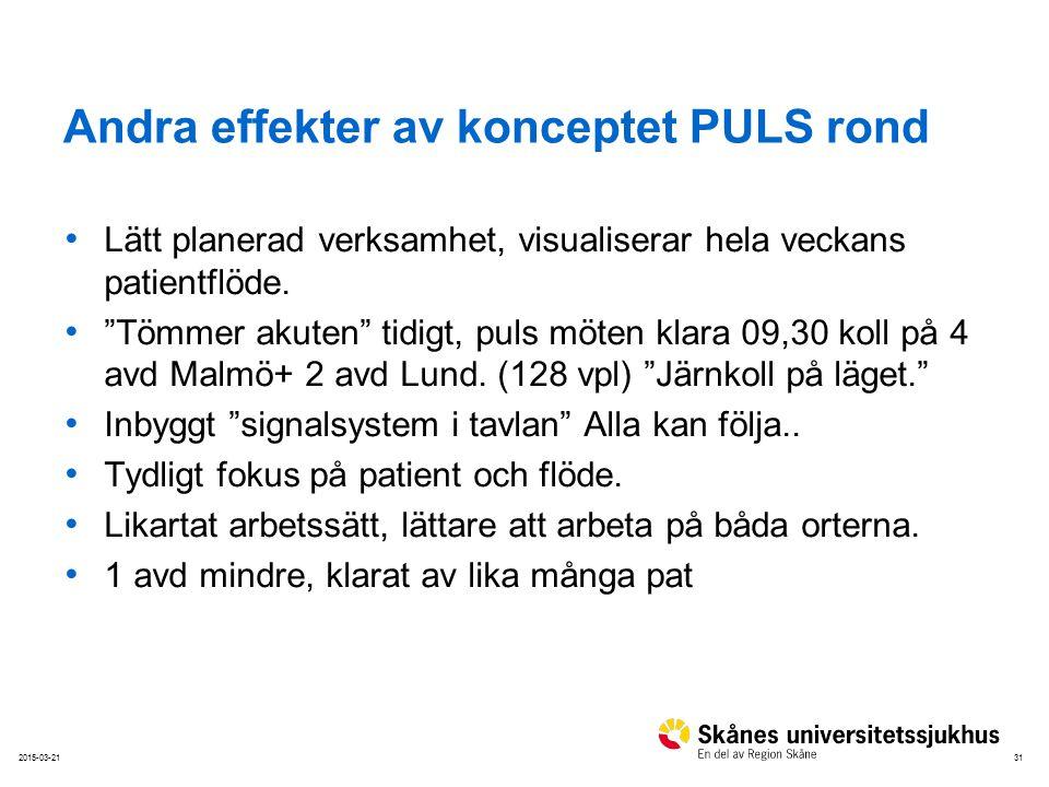 Andra effekter av konceptet PULS rond