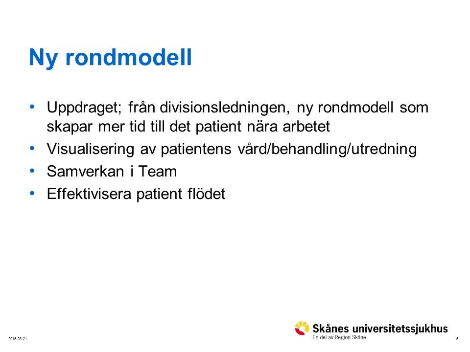 Ny rondmodell Uppdraget; från divisionsledningen, ny rondmodell som skapar mer tid till det patient nära arbetet.