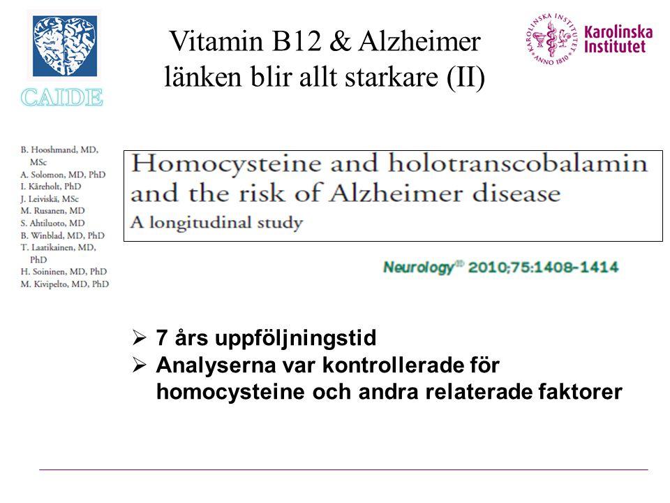 Vitamin B12 & Alzheimer länken blir allt starkare (II)