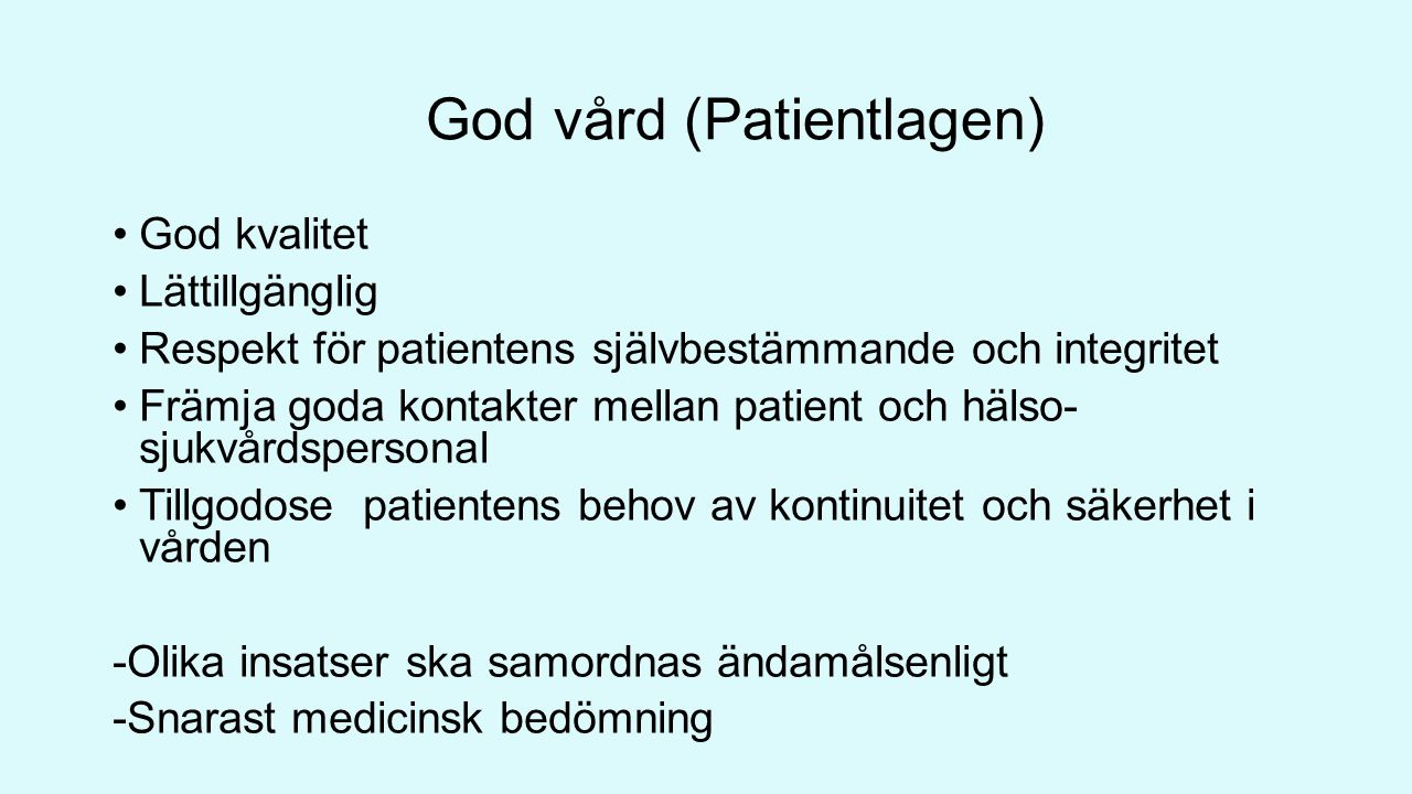 God vård (Patientlagen)