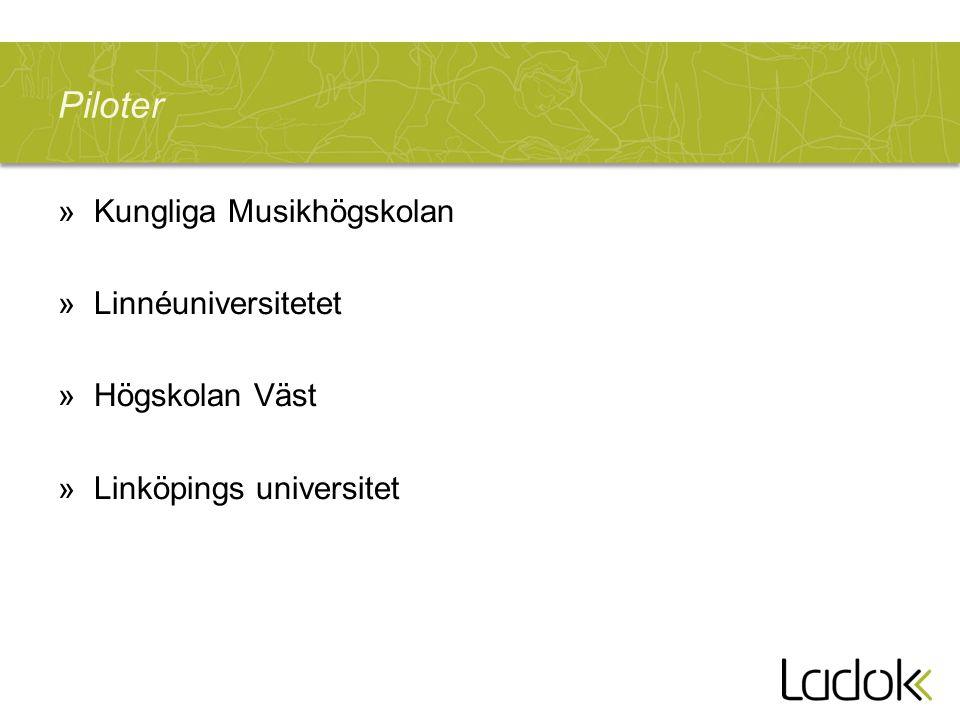 Piloter Kungliga Musikhögskolan Linnéuniversitetet Högskolan Väst