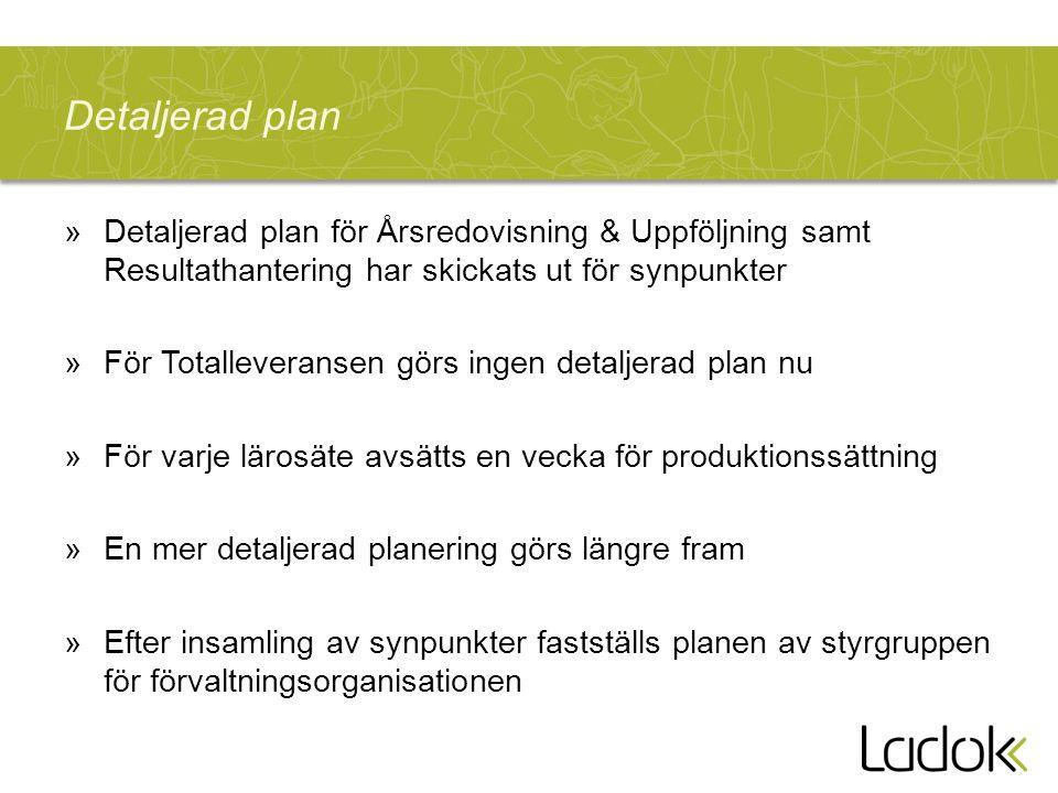 Detaljerad plan Detaljerad plan för Årsredovisning & Uppföljning samt Resultathantering har skickats ut för synpunkter.