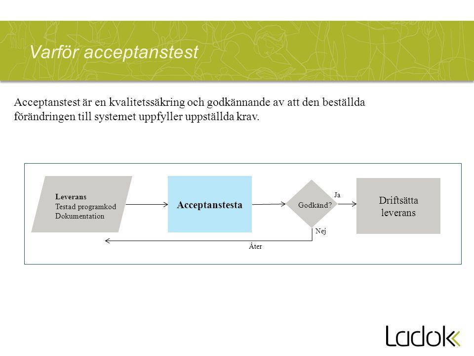 Varför acceptanstest Acceptanstest är en kvalitetssäkring och godkännande av att den beställda förändringen till systemet uppfyller uppställda krav.