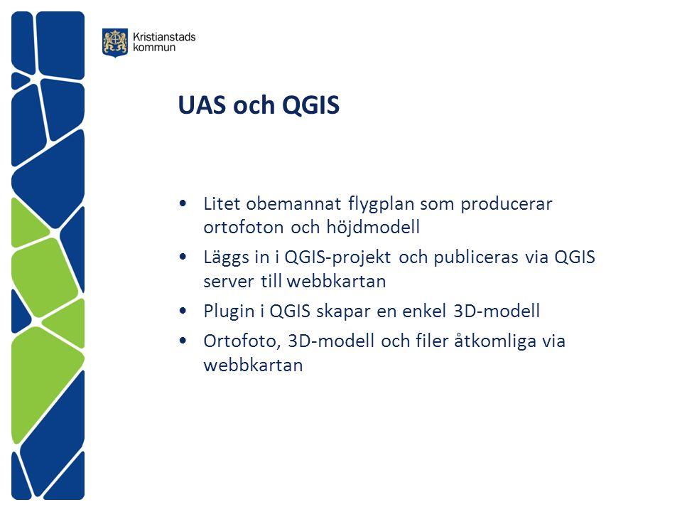 UAS och QGIS Litet obemannat flygplan som producerar ortofoton och höjdmodell.