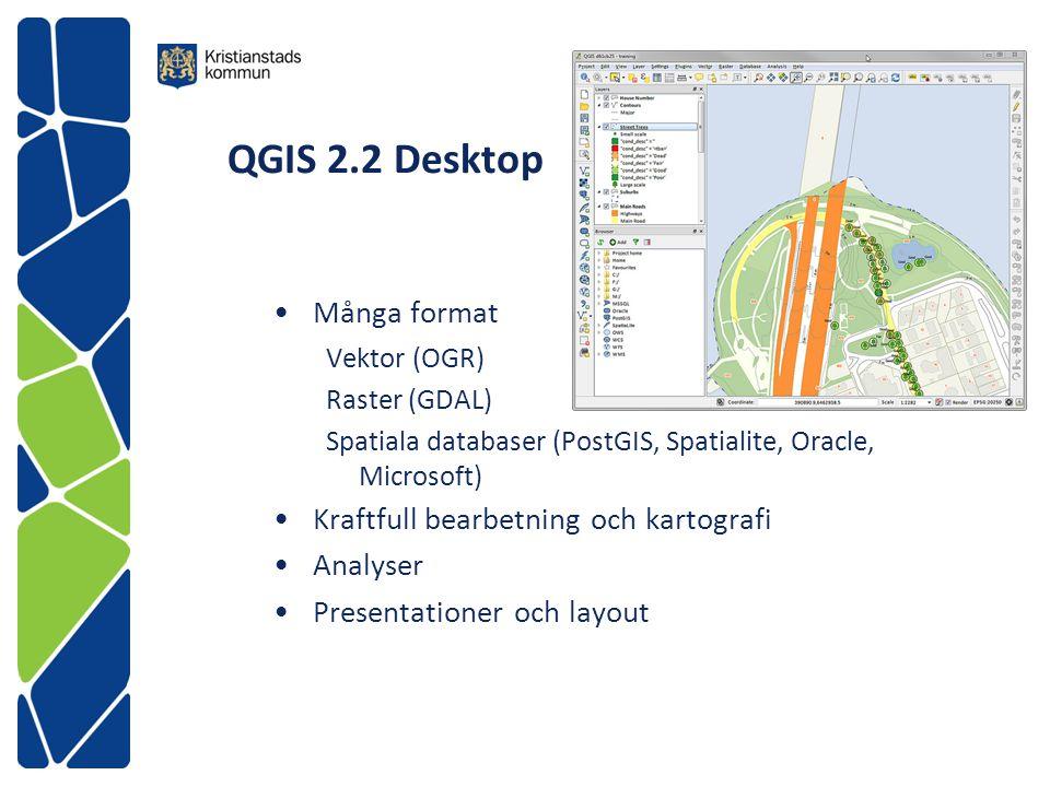 QGIS 2.2 Desktop Många format Kraftfull bearbetning och kartografi
