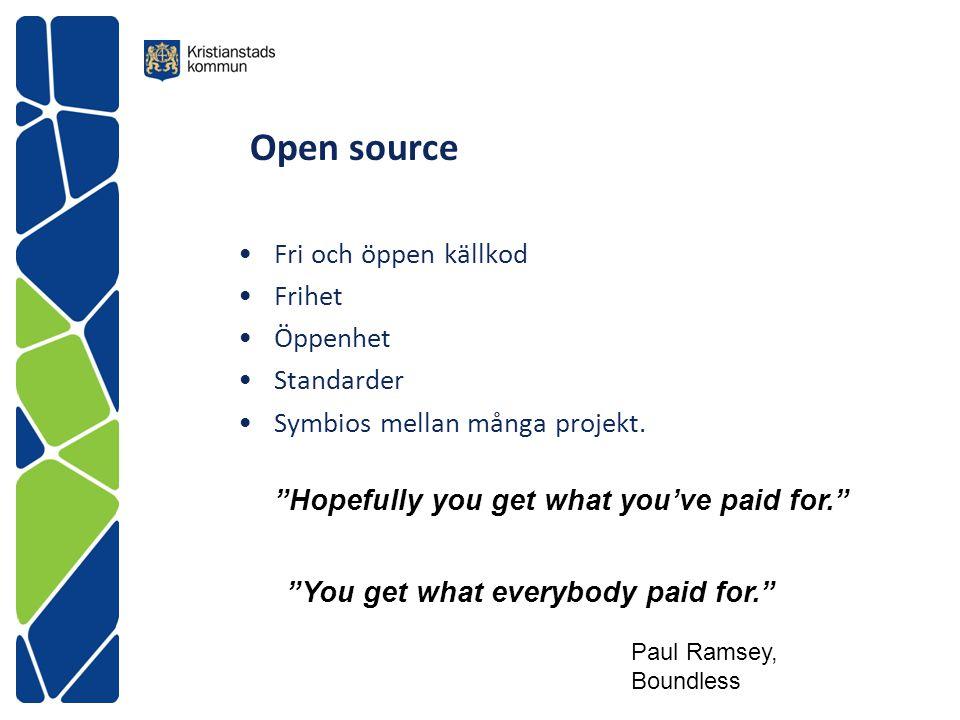 Open source Fri och öppen källkod Frihet Öppenhet Standarder
