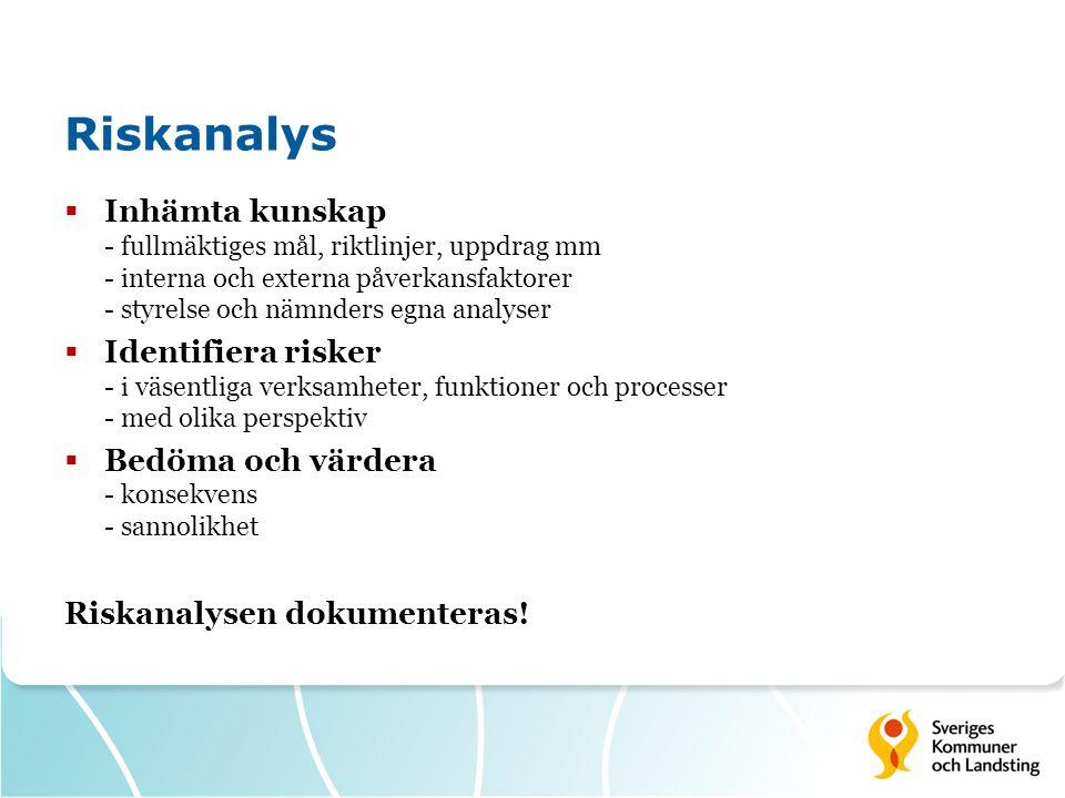 Riskanalys Inhämta kunskap - fullmäktiges mål, riktlinjer, uppdrag mm - interna och externa påverkansfaktorer - styrelse och nämnders egna analyser.