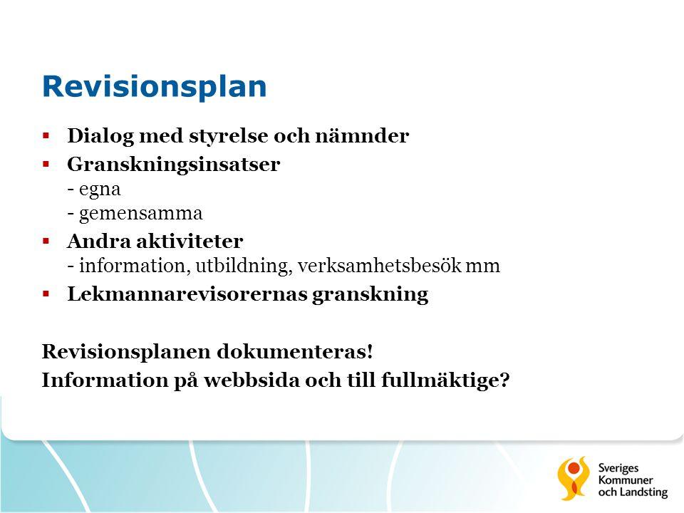 Revisionsplan Dialog med styrelse och nämnder