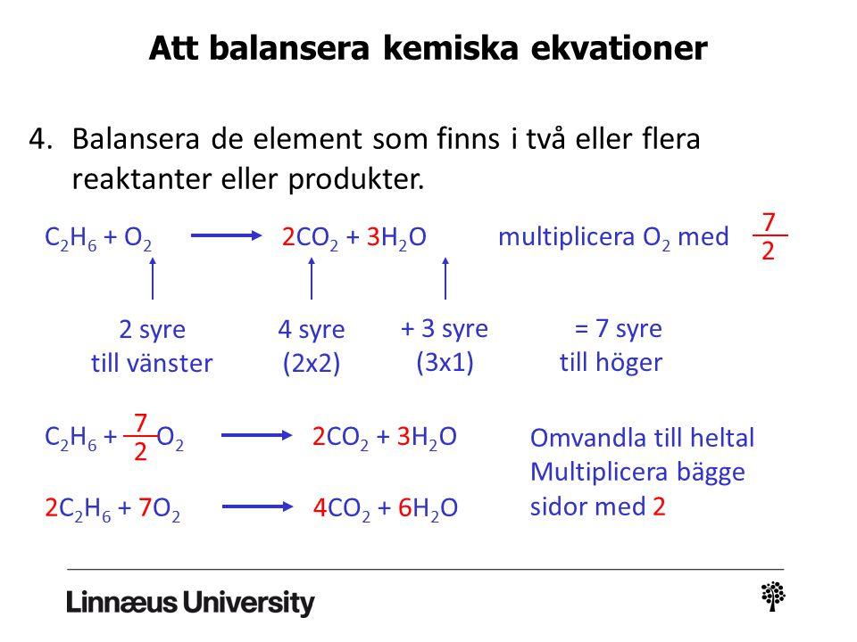 Att balansera kemiska ekvationer