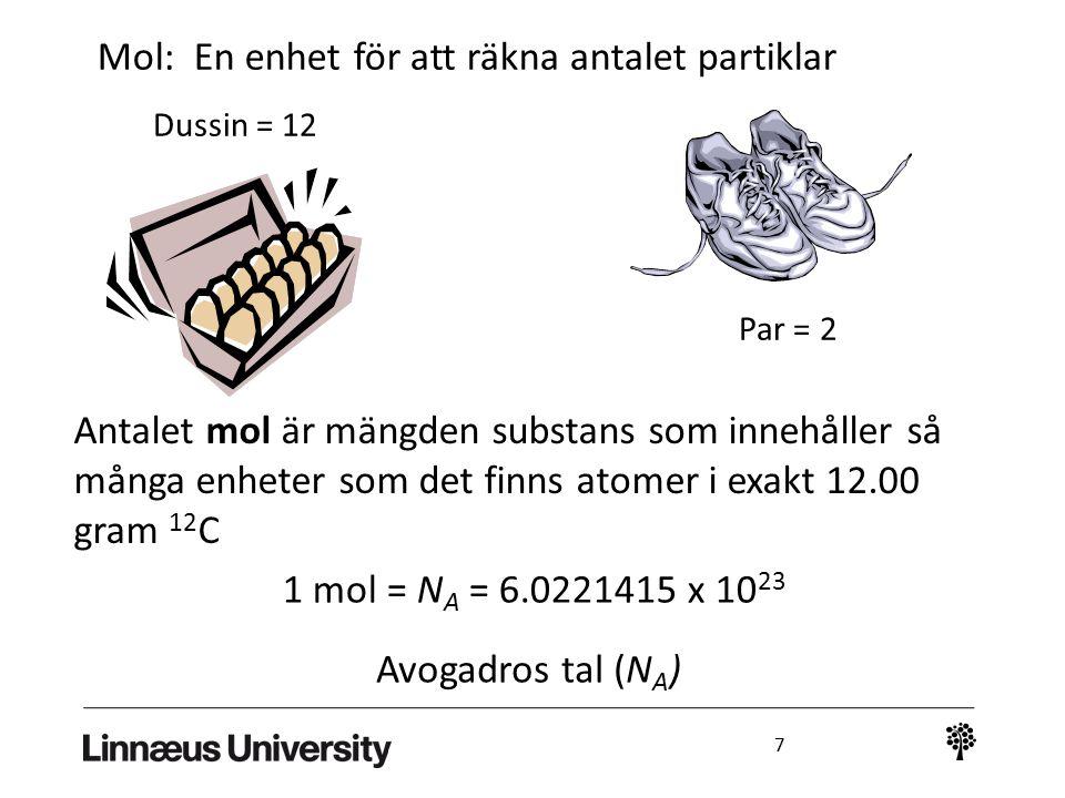 Mol: En enhet för att räkna antalet partiklar