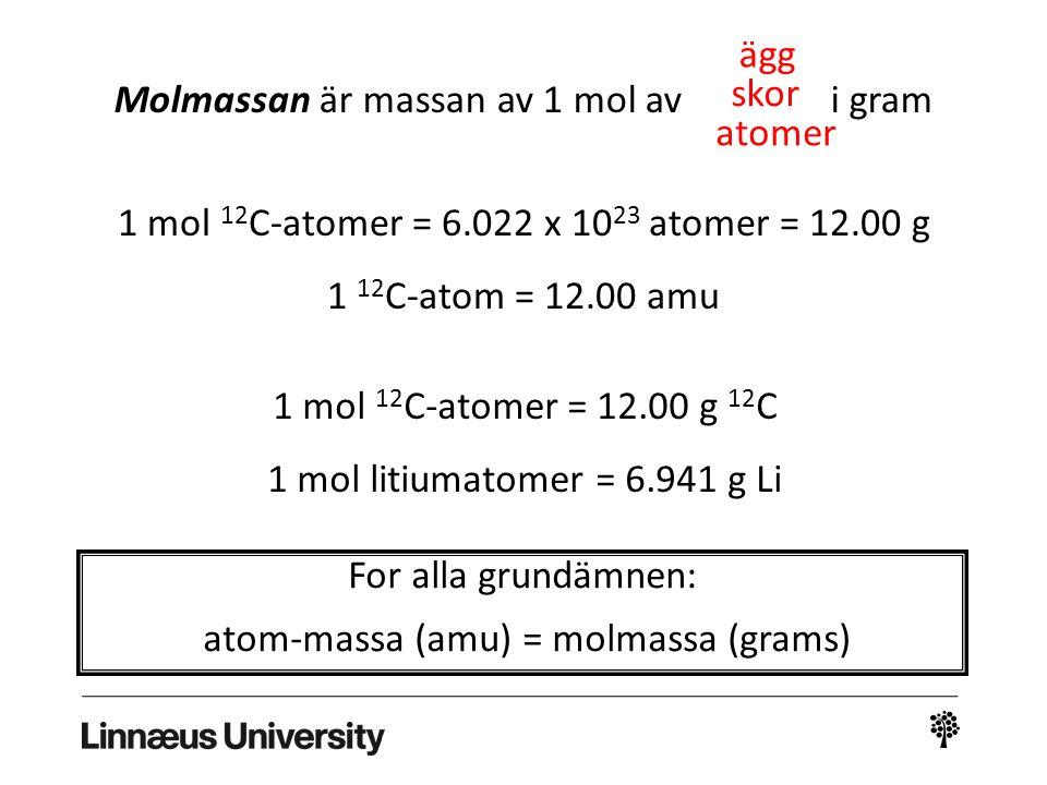 Molmassan är massan av 1 mol av i gram skor atomer