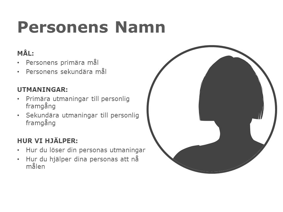 Personens Namn MÅL: Personens primära mål Personens sekundära mål