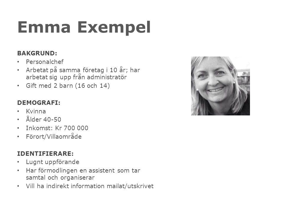 Emma Exempel BAKGRUND: Personalchef