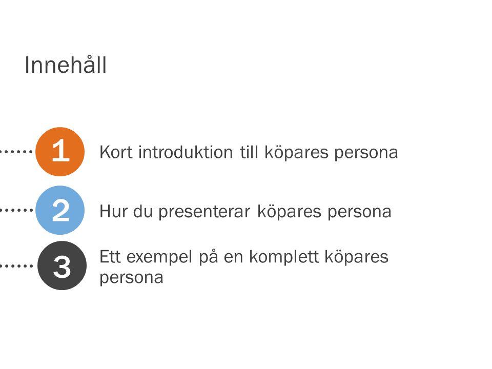 1 2 3 Innehåll Kort introduktion till köpares persona