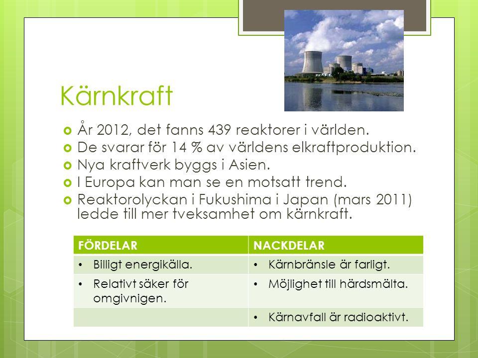 Kärnkraft År 2012, det fanns 439 reaktorer i världen.