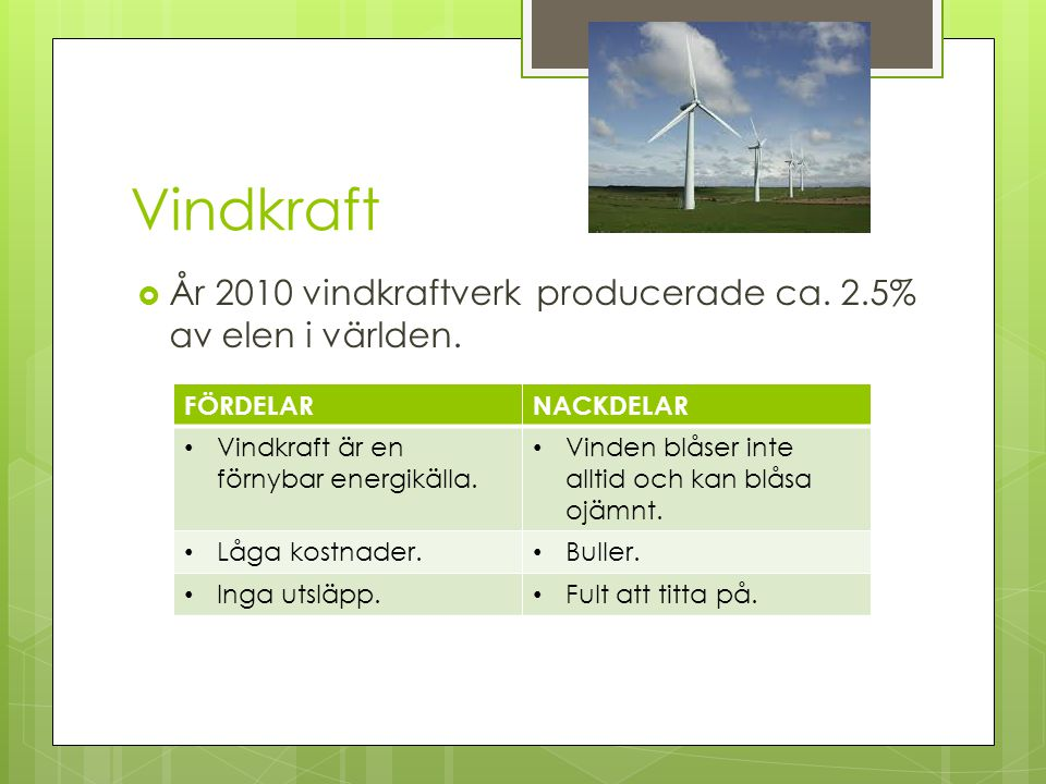 Vindkraft År 2010 vindkraftverk producerade ca. 2.5% av elen i världen. FÖRDELAR. NACKDELAR. Vindkraft är en förnybar energikälla.