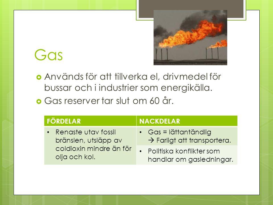 Gas Används för att tillverka el, drivmedel för bussar och i industrier som energikälla. Gas reserver tar slut om 60 år.
