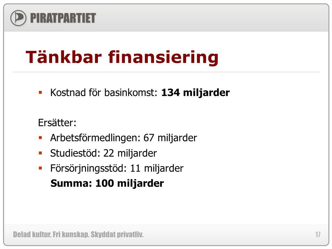 Tänkbar finansiering Kostnad för basinkomst: 134 miljarder Ersätter: