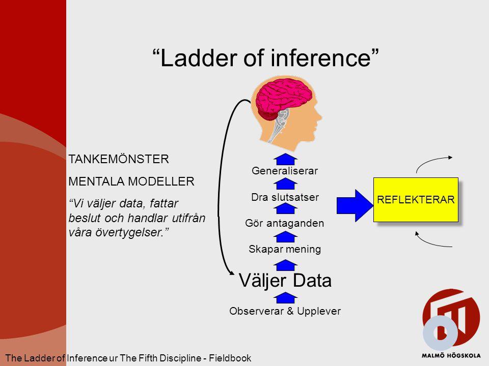 Ladder of inference Väljer Data TANKEMÖNSTER MENTALA MODELLER
