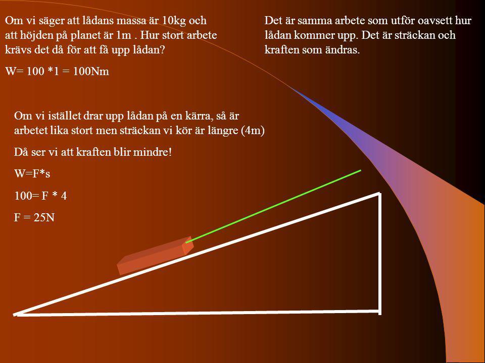 Om vi säger att lådans massa är 10kg och att höjden på planet är 1m