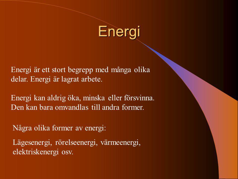 Energi Energi är ett stort begrepp med många olika delar. Energi är lagrat arbete.