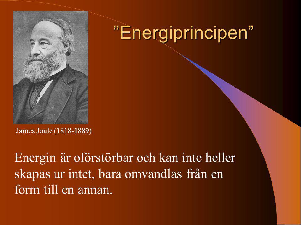 Energiprincipen James Joule (1818-1889) Energin är oförstörbar och kan inte heller skapas ur intet, bara omvandlas från en form till en annan.