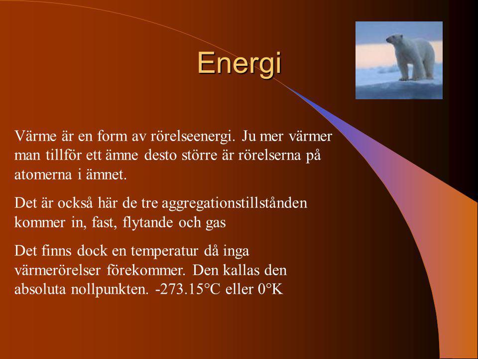 Energi Värme är en form av rörelseenergi. Ju mer värmer man tillför ett ämne desto större är rörelserna på atomerna i ämnet.