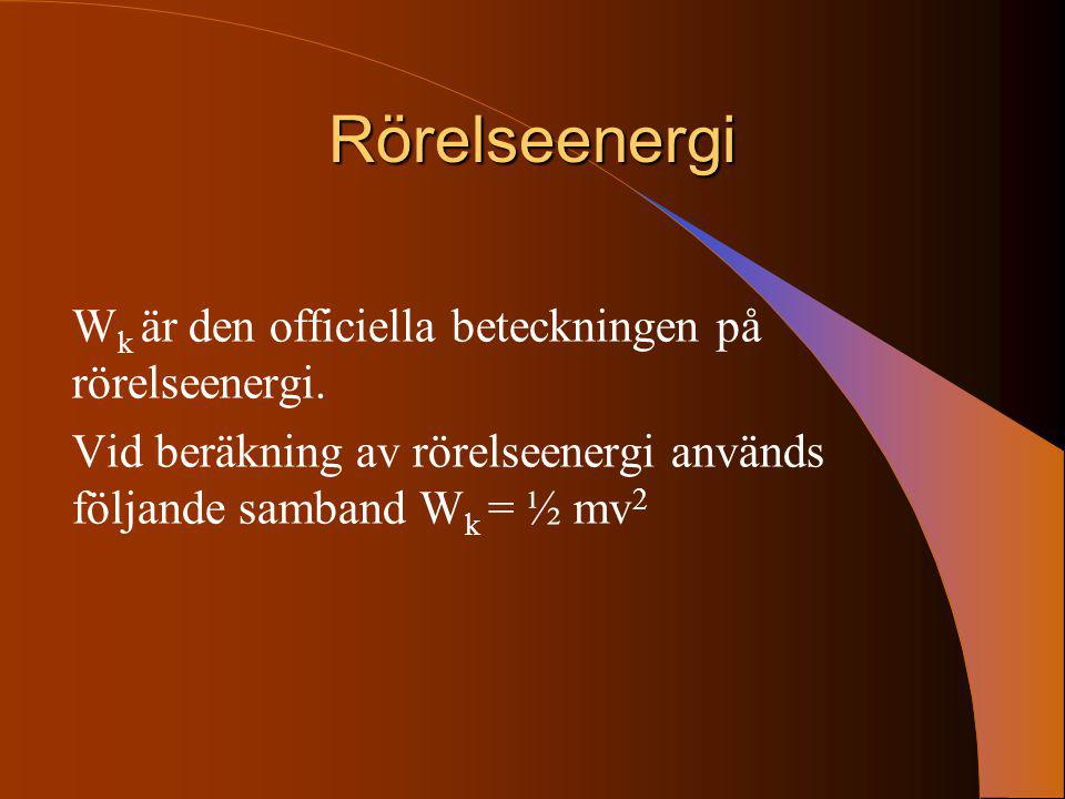 Rörelseenergi Wk är den officiella beteckningen på rörelseenergi.
