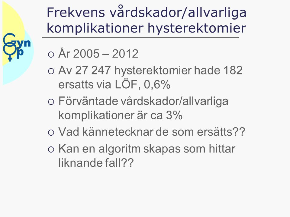 Frekvens vårdskador/allvarliga komplikationer hysterektomier