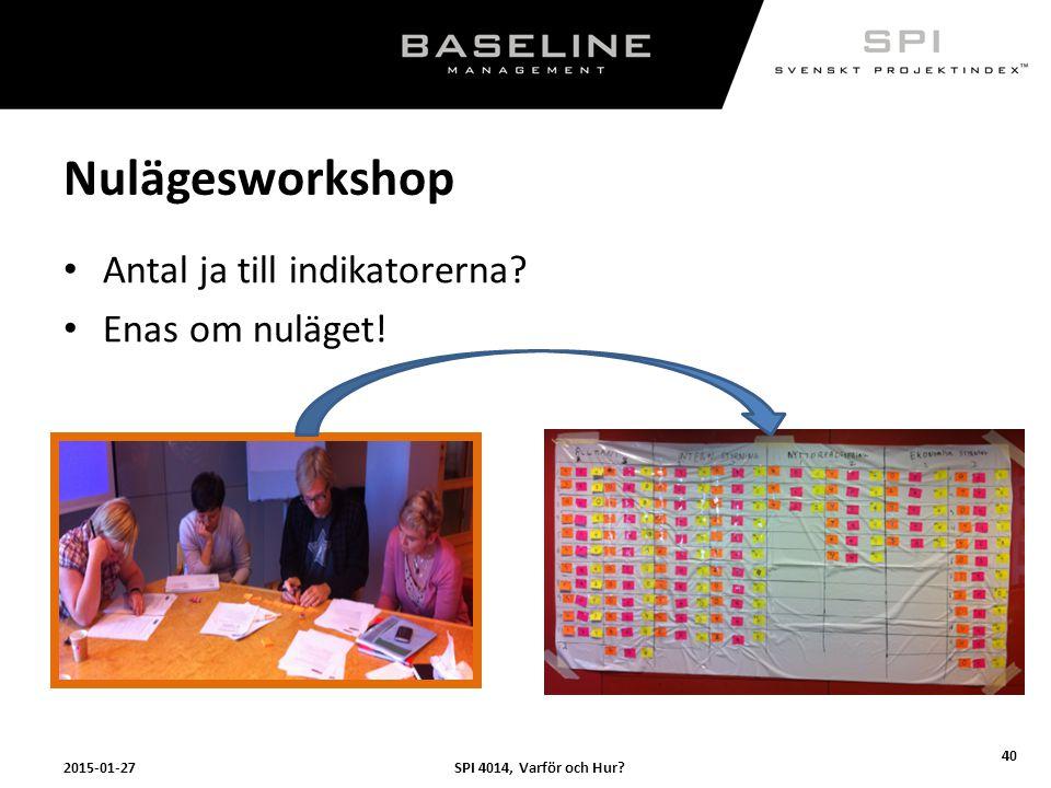 Nulägesworkshop Antal ja till indikatorerna Enas om nuläget!